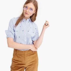J. Crew Embellished Perfect Shirt Blue Stripe 12